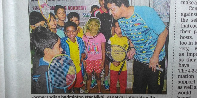 Article on Times of India – Olympian Nikhil Kanitkar with the winners of Shuttle Express Tournament