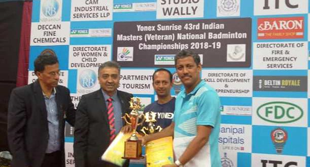 BBA CHIEF COACH AND TRUSTEE SANJAY RAY WON THE RUNNERS UP TROPHY PARTNERING RAJESH SEKHAR OF KERALA IN 45+ EVENTS IN THE 43RD MASTERS NATIONAL BADMINTON CHAMPIONSHIP
